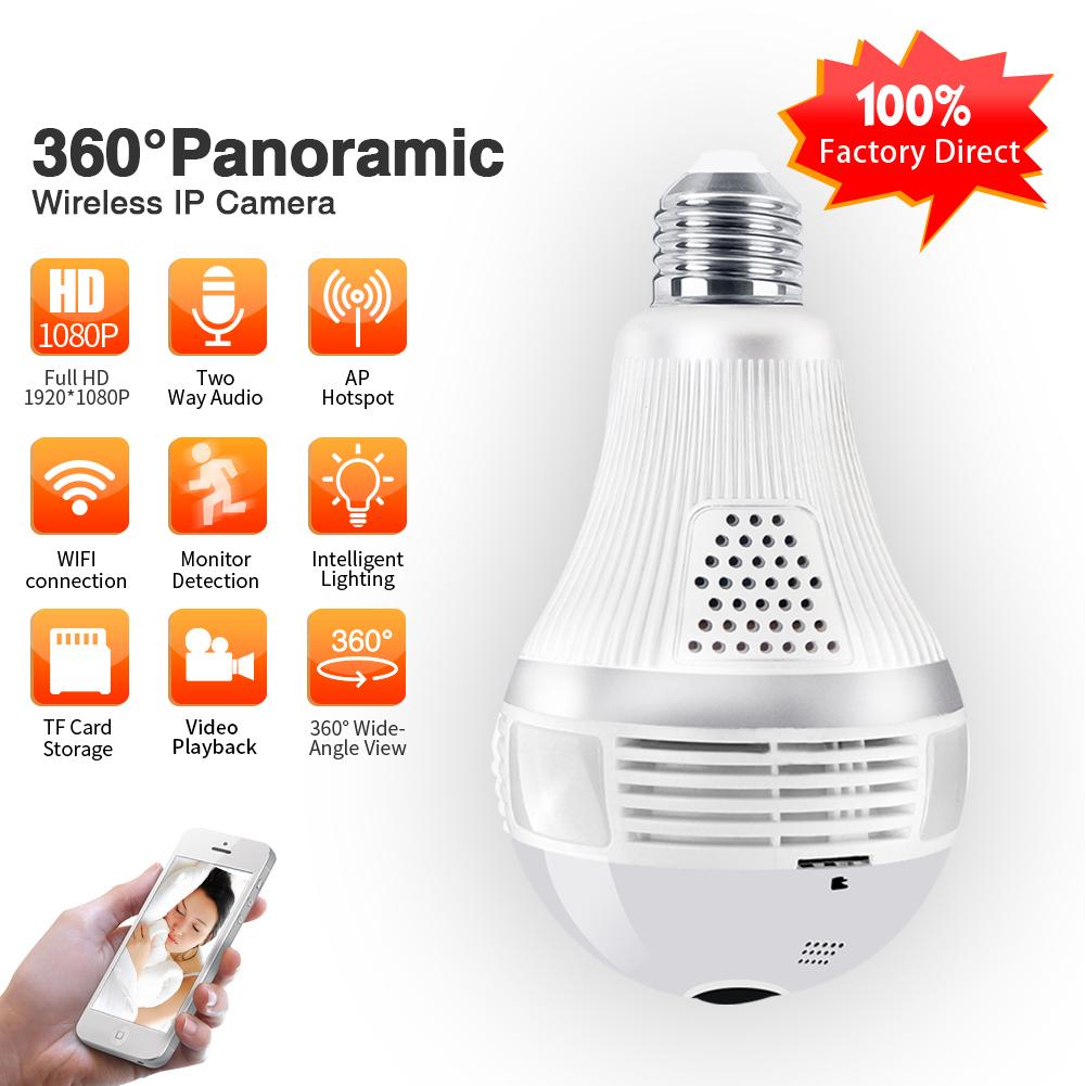 E27 Bulb WIFI Camera Wireless Home Monitor 360 Degree Panorama High Definition Remote Control Camera 3MP-300 million pixels