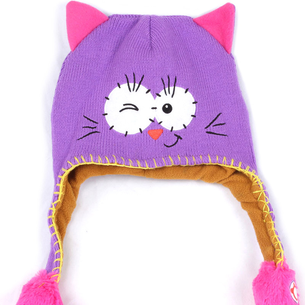 Moving Ears Hat Infant Bomber Hat Sweet Cute Knitted Cartoon Wool Hat Purple Cat_OPP packaging