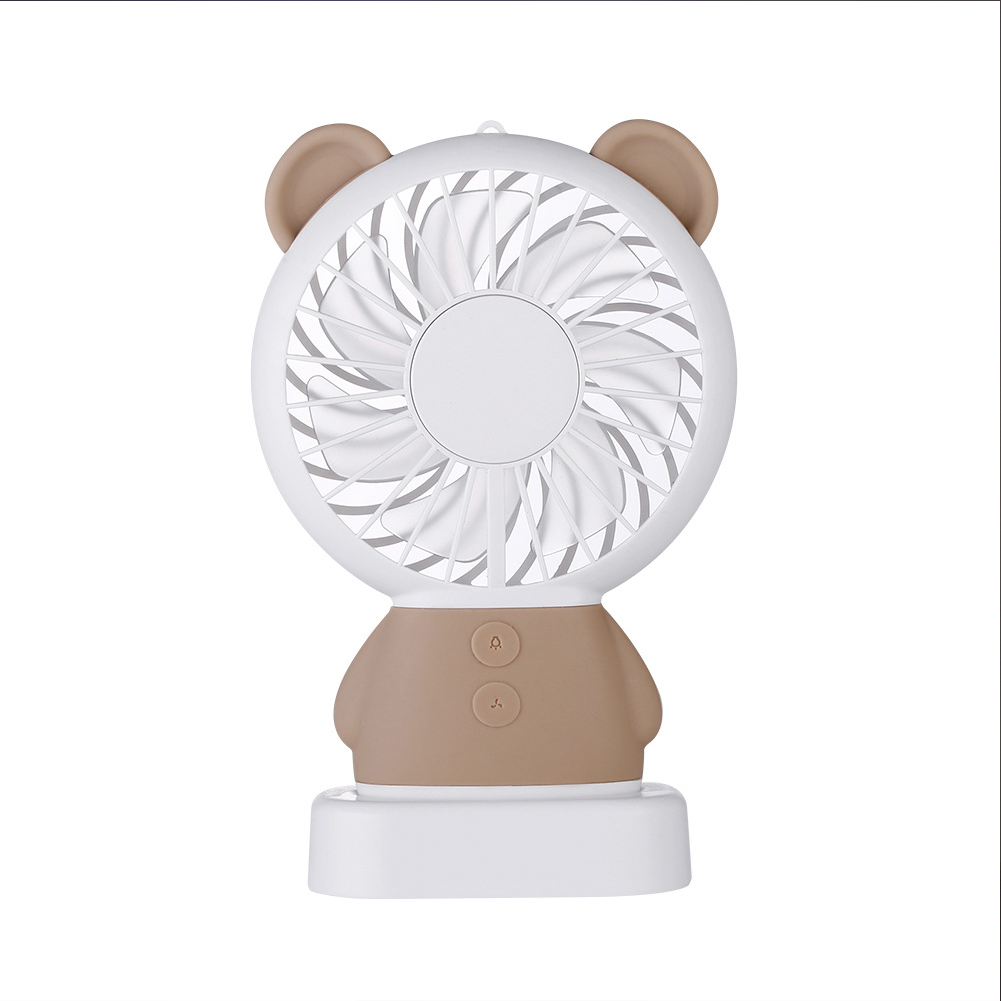 USB Rechargeable Handheld Cute Mini Fan with Colorful Light for Student brown