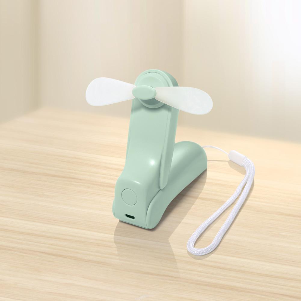 V35 USB Charging Mini Fan Portable Folding Handheld Fan for Student Office green_109 * 46 * 30