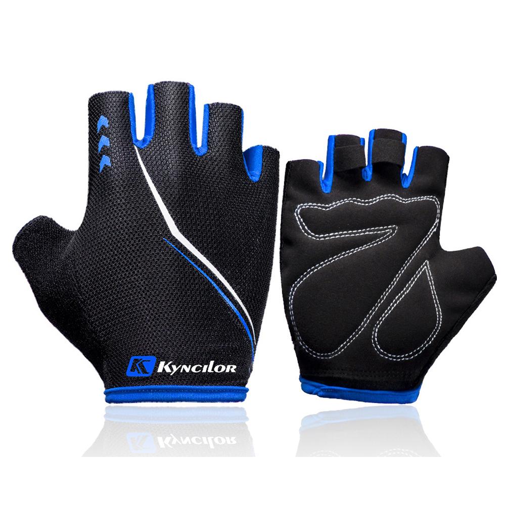 Outdoors Breathable Damping Riding Gloves for Women Men Fitness Half-finger Mountain Bike Gloves blue_XL
