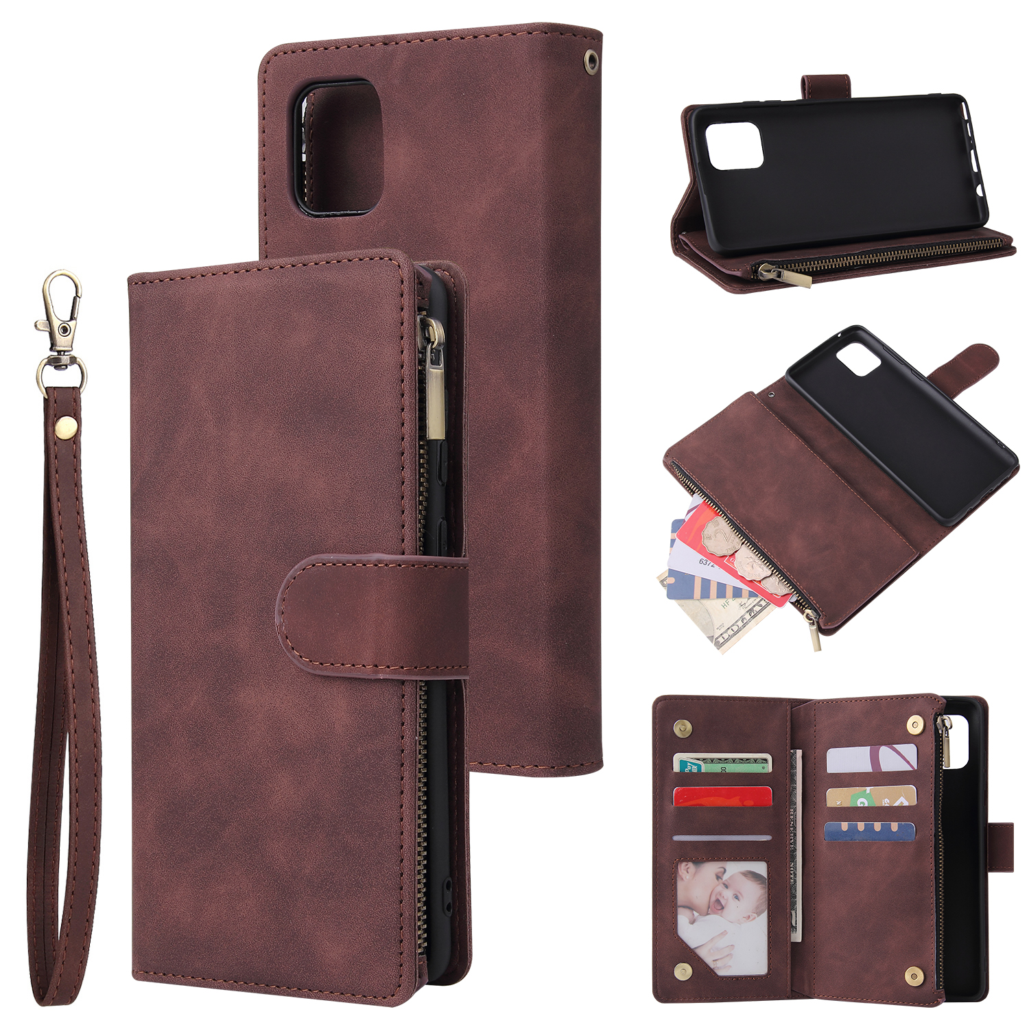 For Samsung NOTE 10 Lite Case Smartphone Shell Wallet Design Zipper Closure Overall Protection Cellphone Cover  3 brown