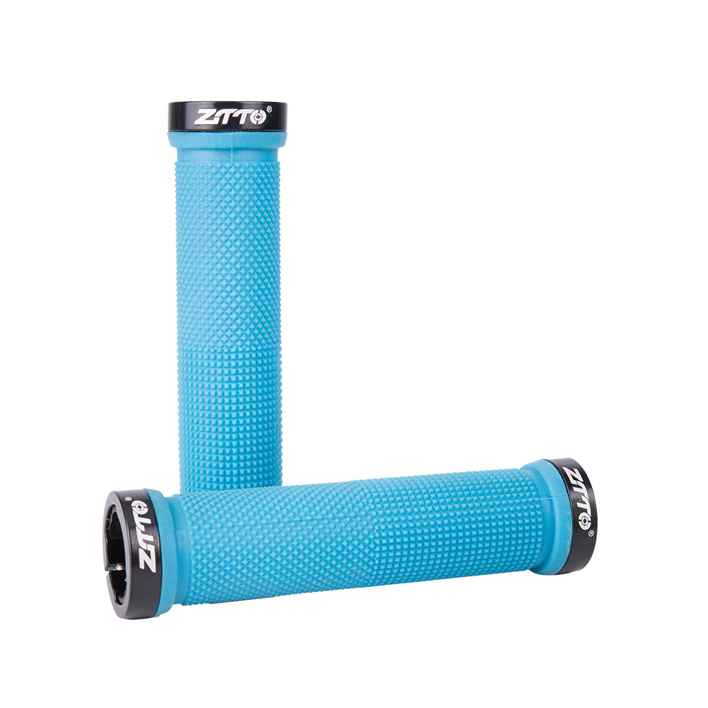 ZTTO Bicycle Handle Grip Straight Handle Cover Soft Comfortable Antiskid Bike Handle Cover Plug blue
