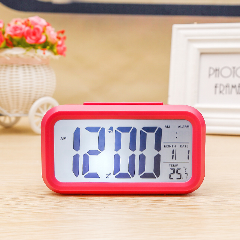 Digital Electronic Alarm  Clock With Lcd Backlight Time Calendar Thermometer red