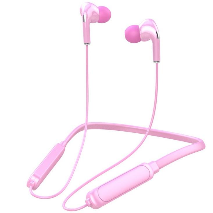 Bt-71 Neck-mounted Bluetooth 5.0 In-ear Wireless  Sports Headphones Pink