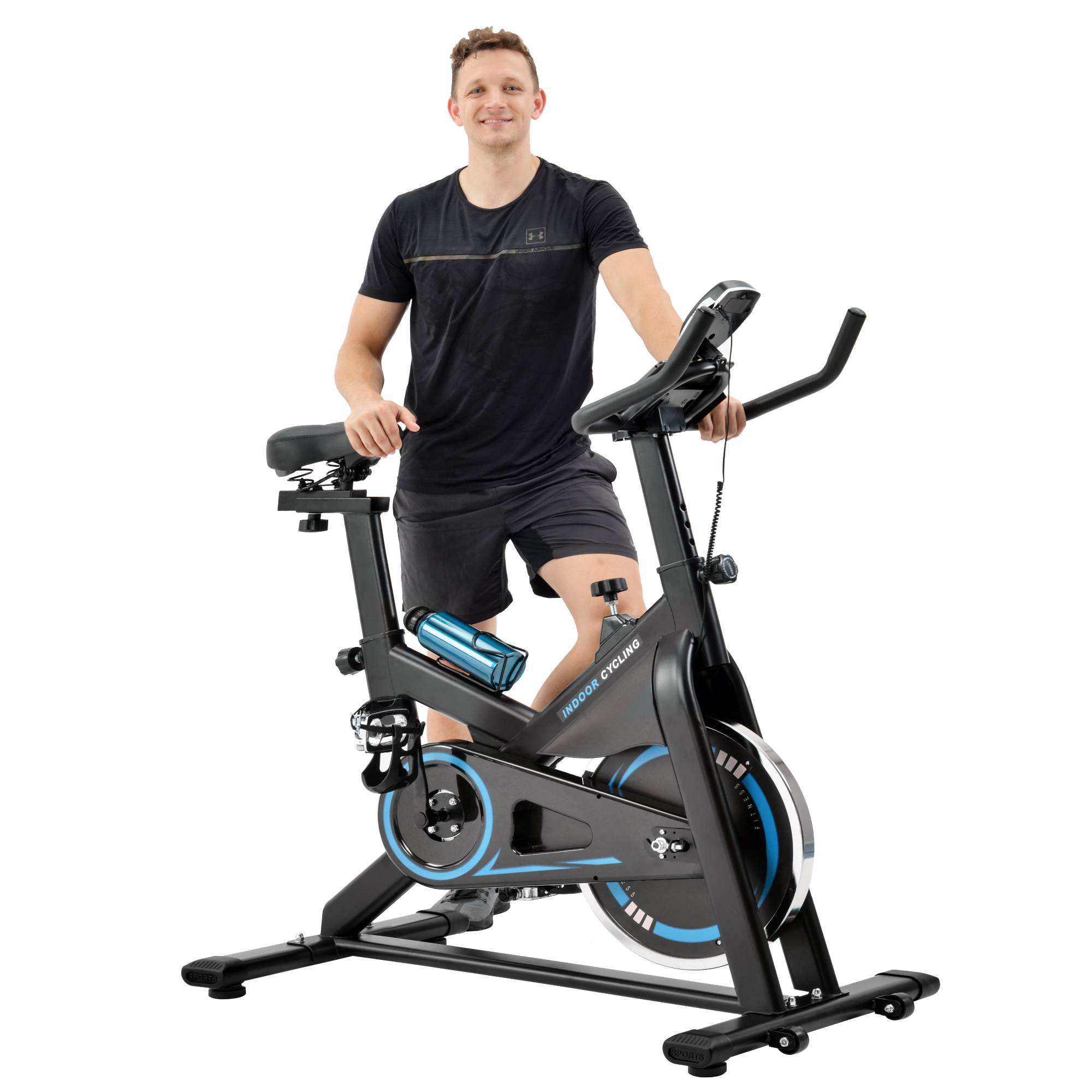 [US Direct] 【Video provided】Indoor Cycling Bike Trainer with Comfortable Seat Cushion, Exercise Bike with Belt Drive System and LCD Monitor for Home Workout,with Water Bottle Holder and Soft Saddle