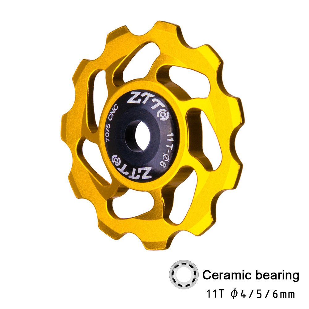 Mountain Bike Transmission Rear Dial Wheel High-end Ceramic Palin Guide Wheel 11T Tooth Aluminum Alloy Tension Wheel Gold