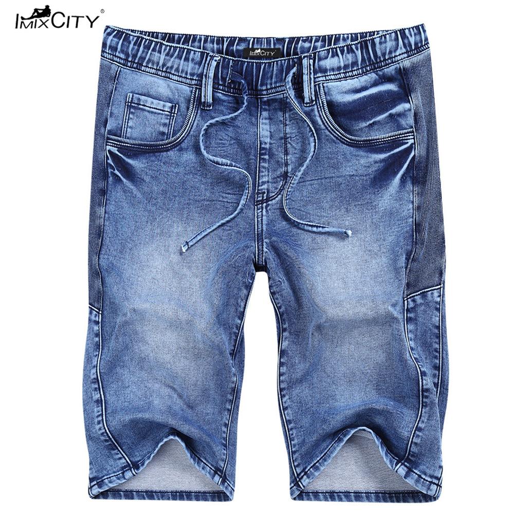 IMIXCITY Summer Men's Casual Slim Jean Short Denim Short With Elastic Waistband Denim blue_Thirty-two