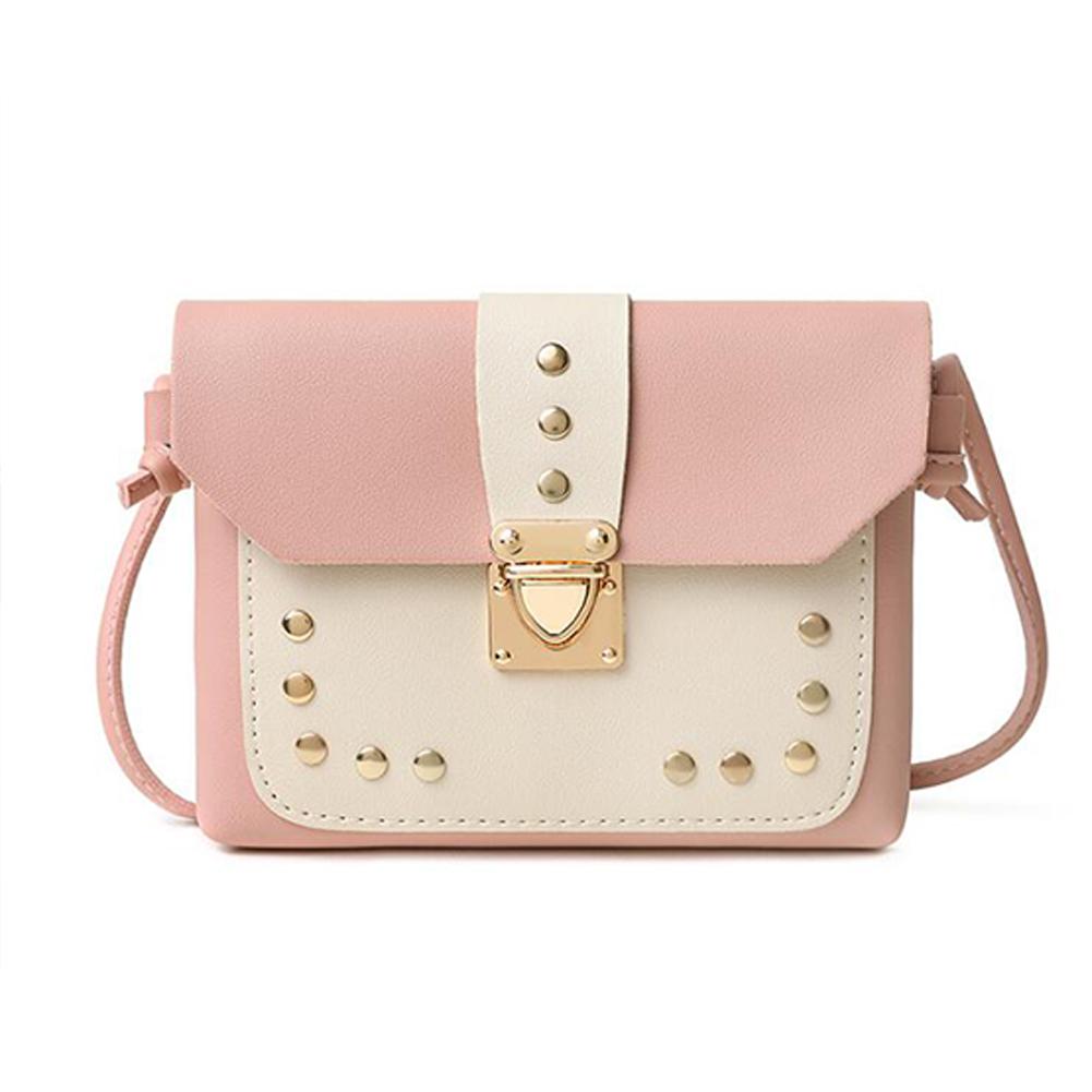 Women Small Satchel Rivet Metal Lock Buckle PU Leather Single Strap Cross-body Bag Pink