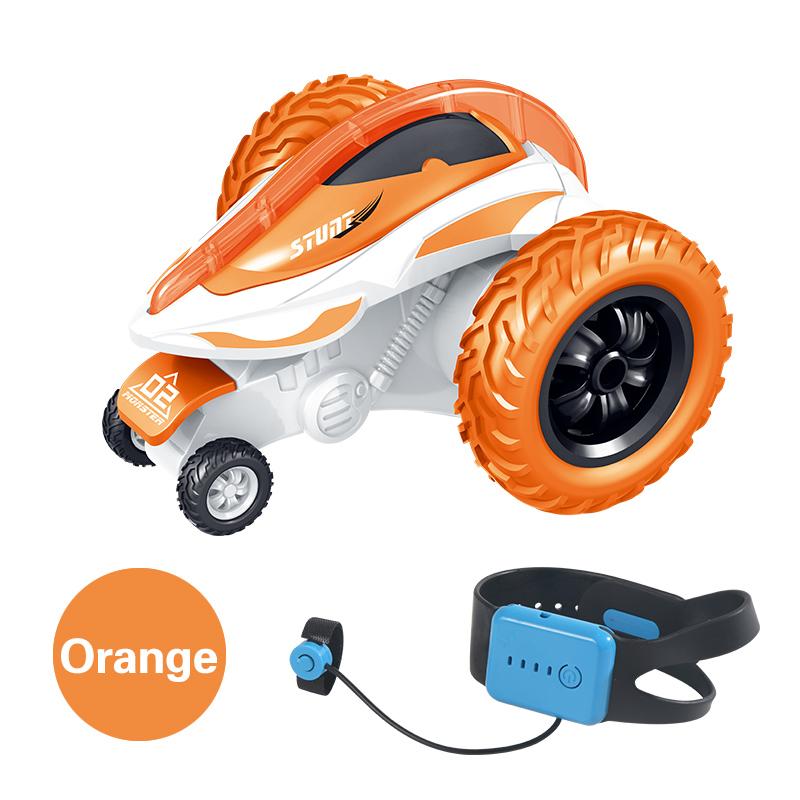 T12B 3-wheels Rotating Stunt Car 2.4G Watch Remote Control Rolling Car Model Children Electric Toy Gift Orange