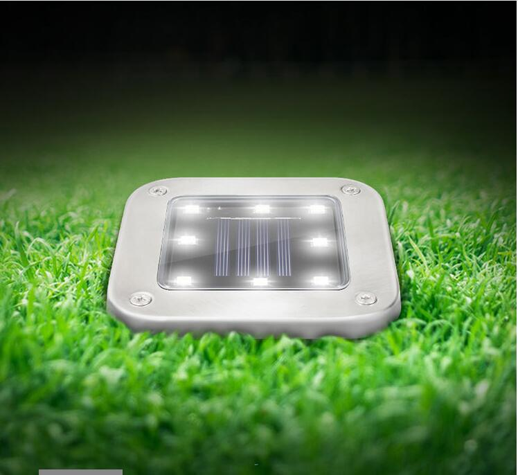 4Pcs 8LEDs Solar Powered Buried Light Underground Lamp for Outdoor Path Way Patio Garden Yard white light