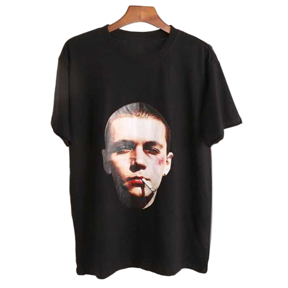 Men's and Women's T-shirt Retro Style Printing Pattern Short-sleeve T-shirts Black _L