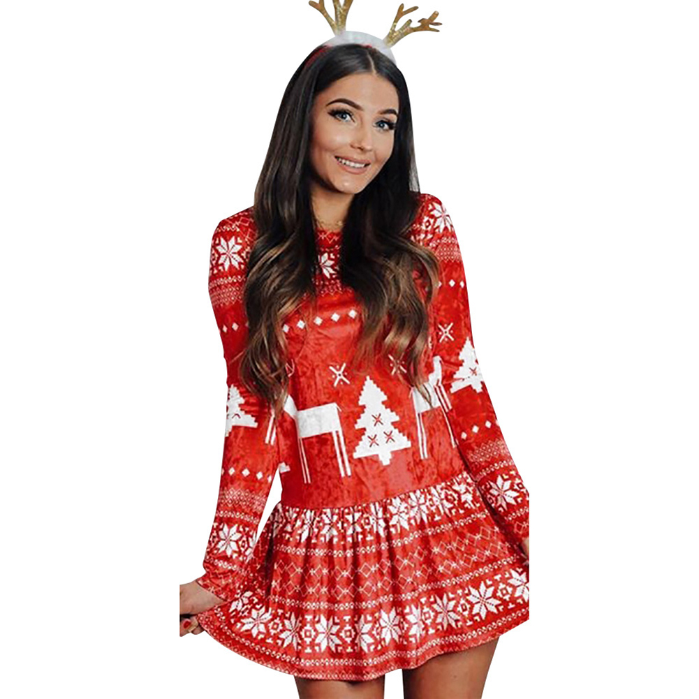 Women's Dress Slim Long-sleeve Crew-neck Printing Short Skirt red_L