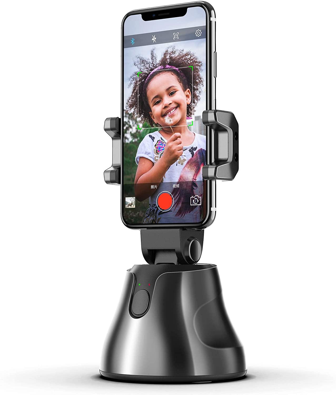 Portable Smart Selfie Stick 360 Rotates Auto Face Object Tracking Vlog Shooting Smart Phone Mount Holder black