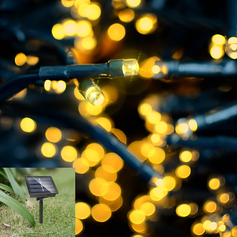 12M/22M 100LEDs/200LEDs Waterproof Solar String Light with 8 Modes for Decoration Warm White_22 meters 200 LED_(ME0003602)