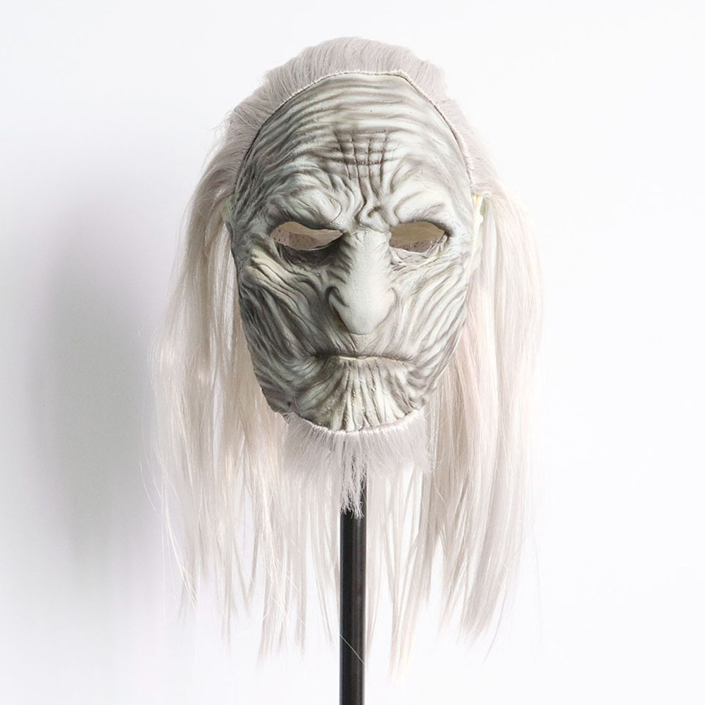 Halloween Mask Long Haired Night King Headgear Horror Latex Face Mask The old long hair night king
