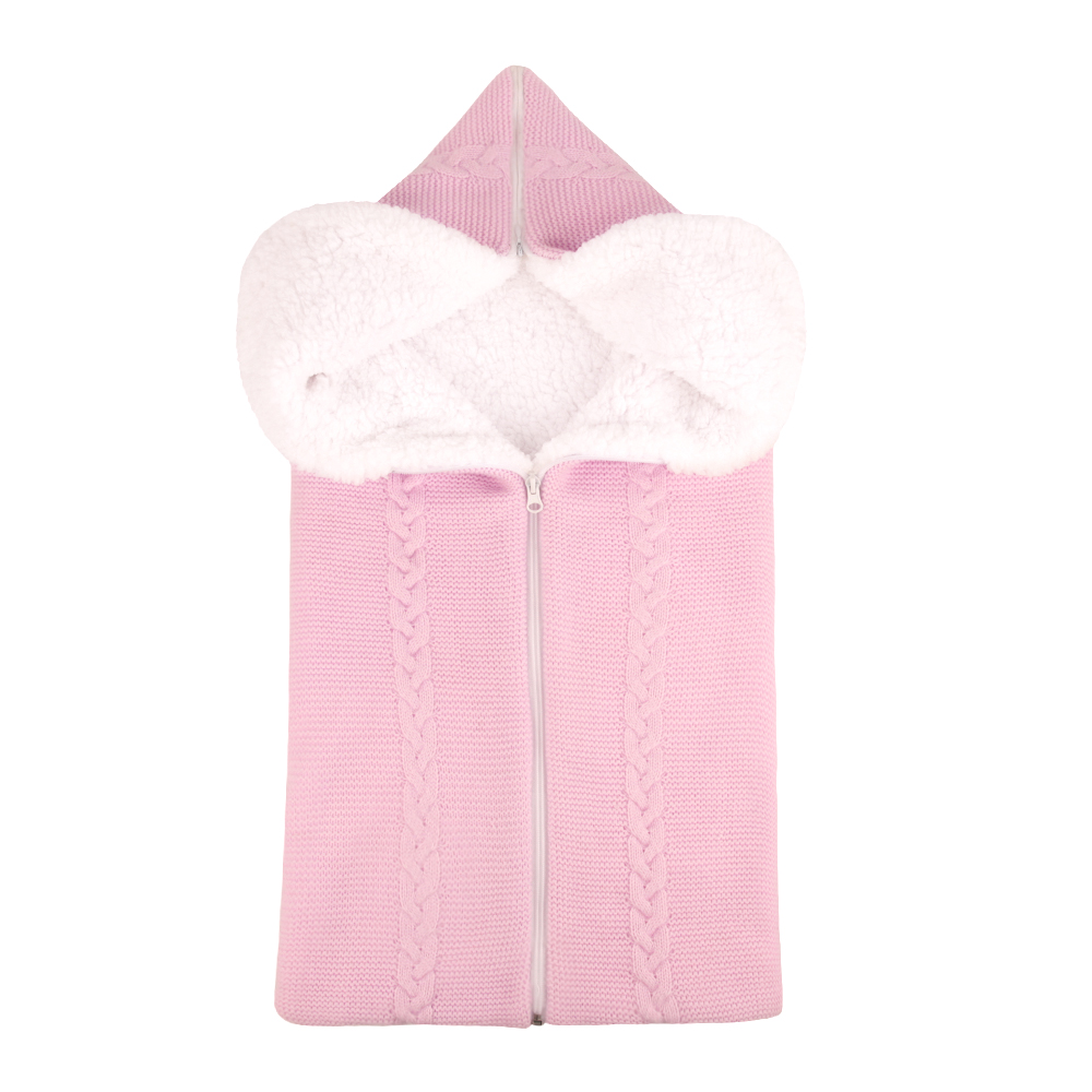 Bunting Bag Outdoor Wool Knitted Thick Warm Blanket Multifunctional Sleeping Bag for Infants and Newborns light pink