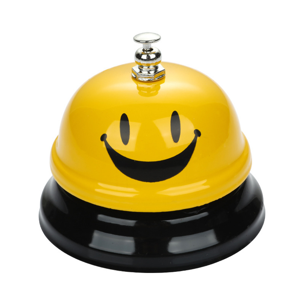 Zinc  Alloy  Manual Ring For Hotel Reception Counter Bar Ringing Service Guest Ring Yellow smiley_75x60mm
