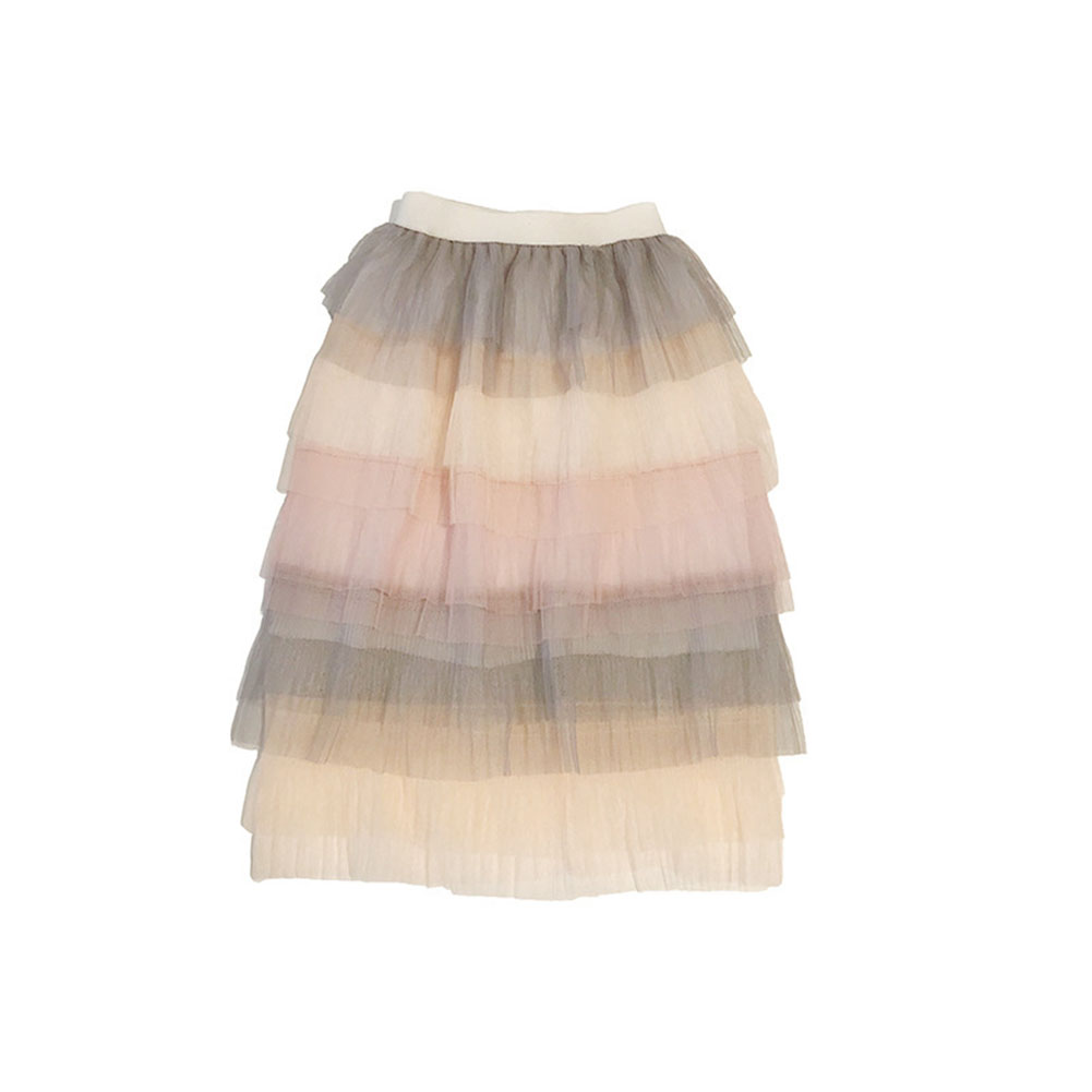 Children Baby Girls Rainbow Gradient Tutu Long Skirt As shown _13(6-7Y)