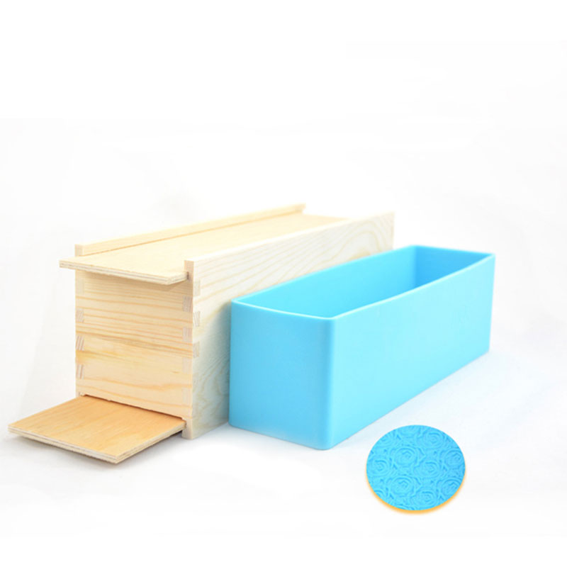 DTY Handmade Soap Mold Tool Double Door Wooden Box and Rose Figure Silicone Mould