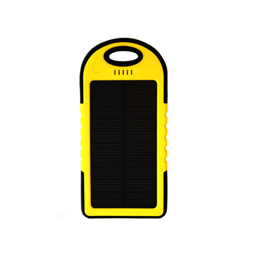 2 In 1 Solar Powered Power Bank Waterproof Dustproof Shockproof Dual USB Output Portable Solar Charger Yellow