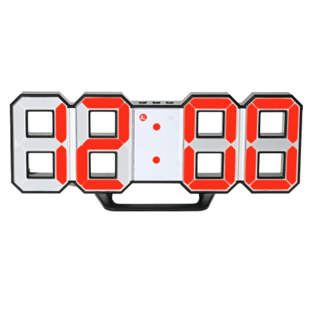 LED Wall Clock Alarm Clock Digital 3D Living Room Explosion Models Electronic Clock Black shell - red