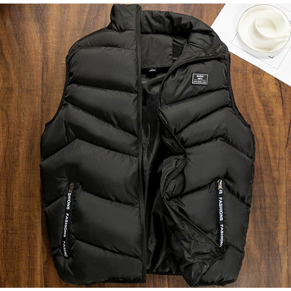 Casual Vest Men Winter Jackets Thick Sleeveless Coats Male Warm Cotton-Padded Waistcoat black_M