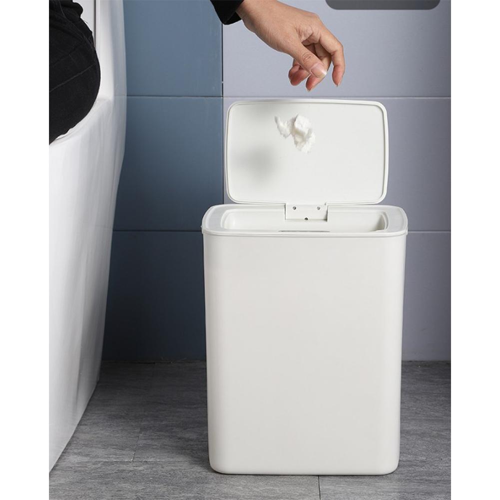 Automatic Touchless Motion Sensor Kitchen Trash Can Kick Dustbin Sensor Waste Garbage Bin Nordic White
