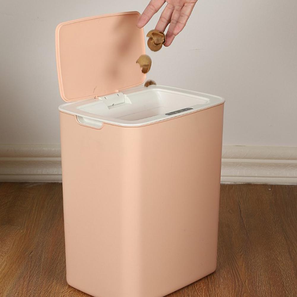 Automatic Touchless Motion Sensor Kitchen Trash Can Kick Dustbin Sensor Waste Garbage Bin Nordic pink