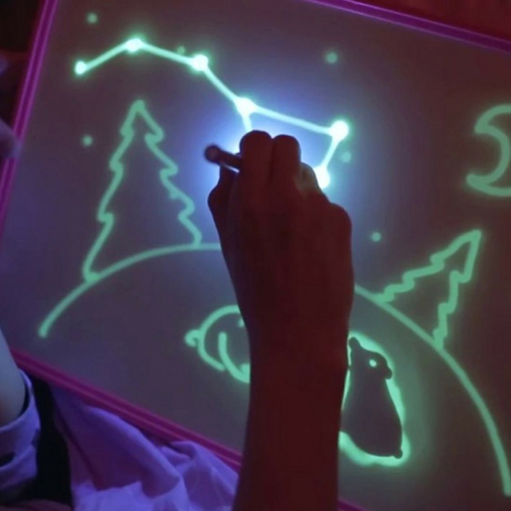 A4 Draw With Light In Dark Children Kids Toy Luminous Drawing  Board Sketchpad Set Gift English version