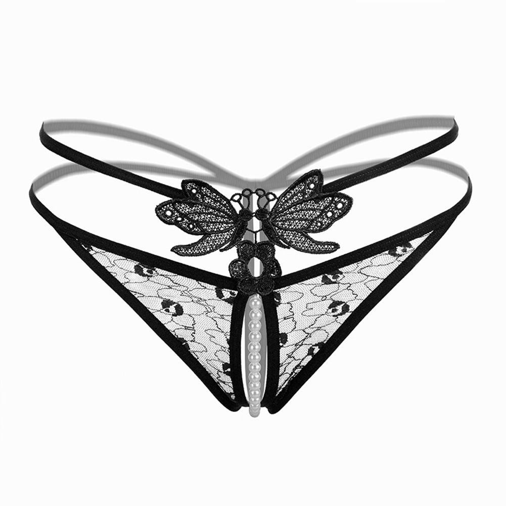 Women Underwear Sexy Pearl G-string Butterfly Lace Ladies Panties Underwear Pants Thong 2199 # Black_One size