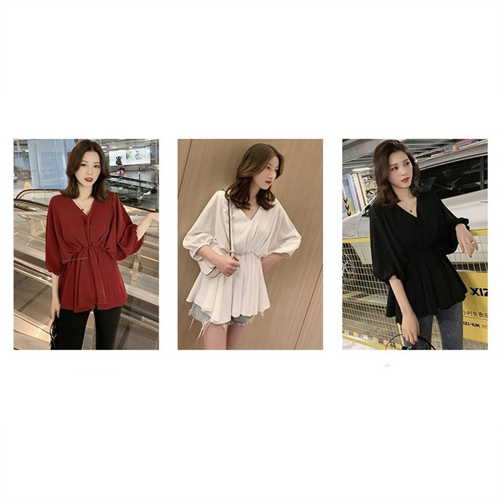 Women Fashion Solid Color Large Size V Collar Tight Waist Chiffon Shirt white_2XL