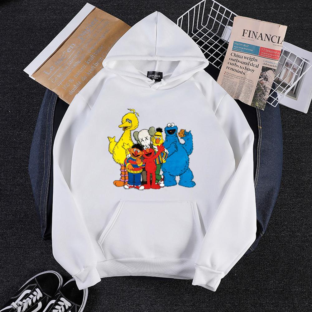 KAWS Men Women Hoodie Sweatshirt Cartoon Animals Thicken Loose Autumn Winter Pullover White_XXL