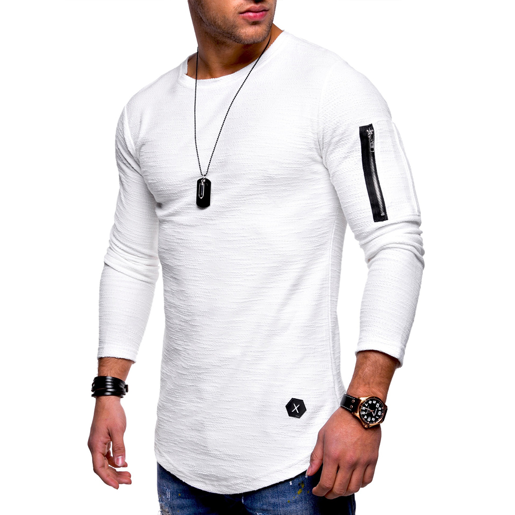 Men Shirt Casual Long Sleeve Zipper Pocket Pullover Slim Fit Top white_L