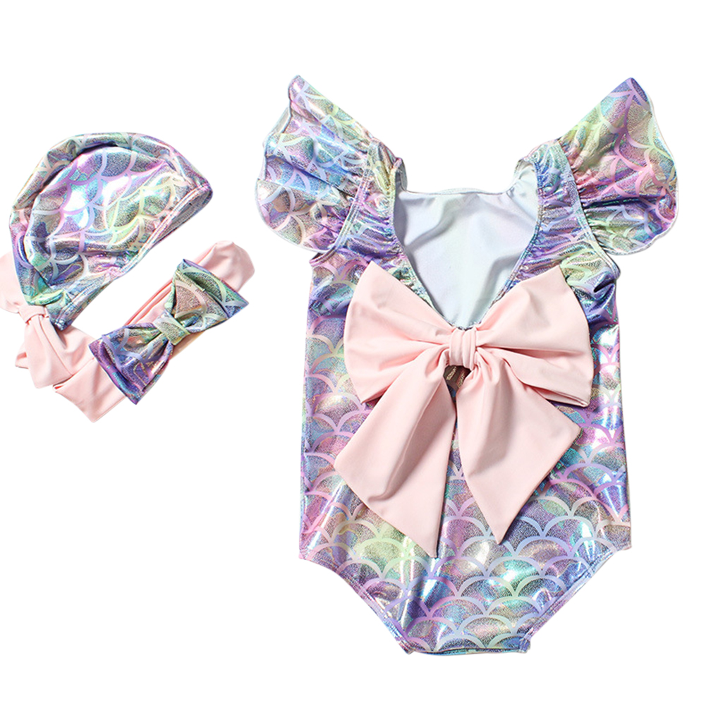 Kids Baby Infant Girls One-piece Swimwear Hair Band Hat Set for Hot Spring