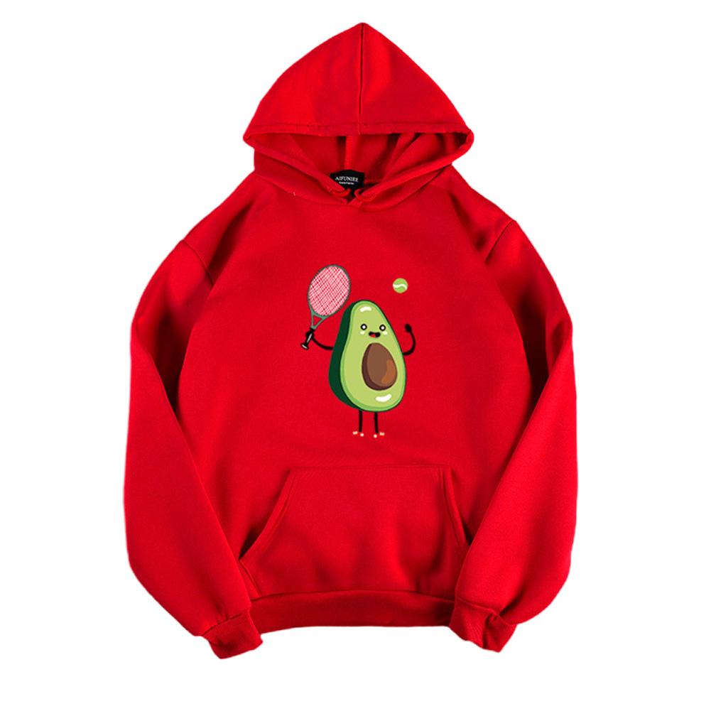 Men Women Hoodie Sweatshirt Cartoon Avocado Thicken Loose Autumn Winter Pullover Tops Red_S