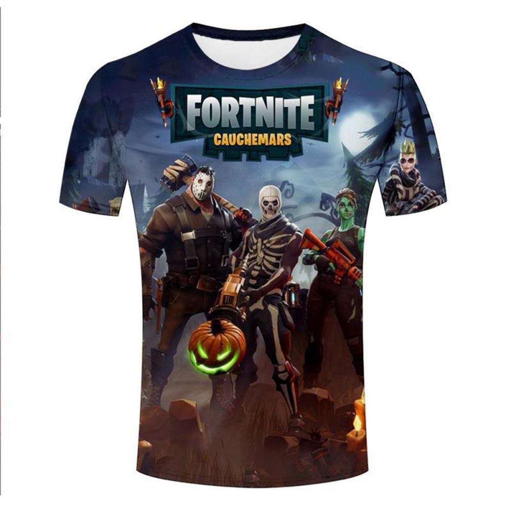 Unisex Fashion 3D  Pumpkin Round Collar Cool T-shirt as shown_S