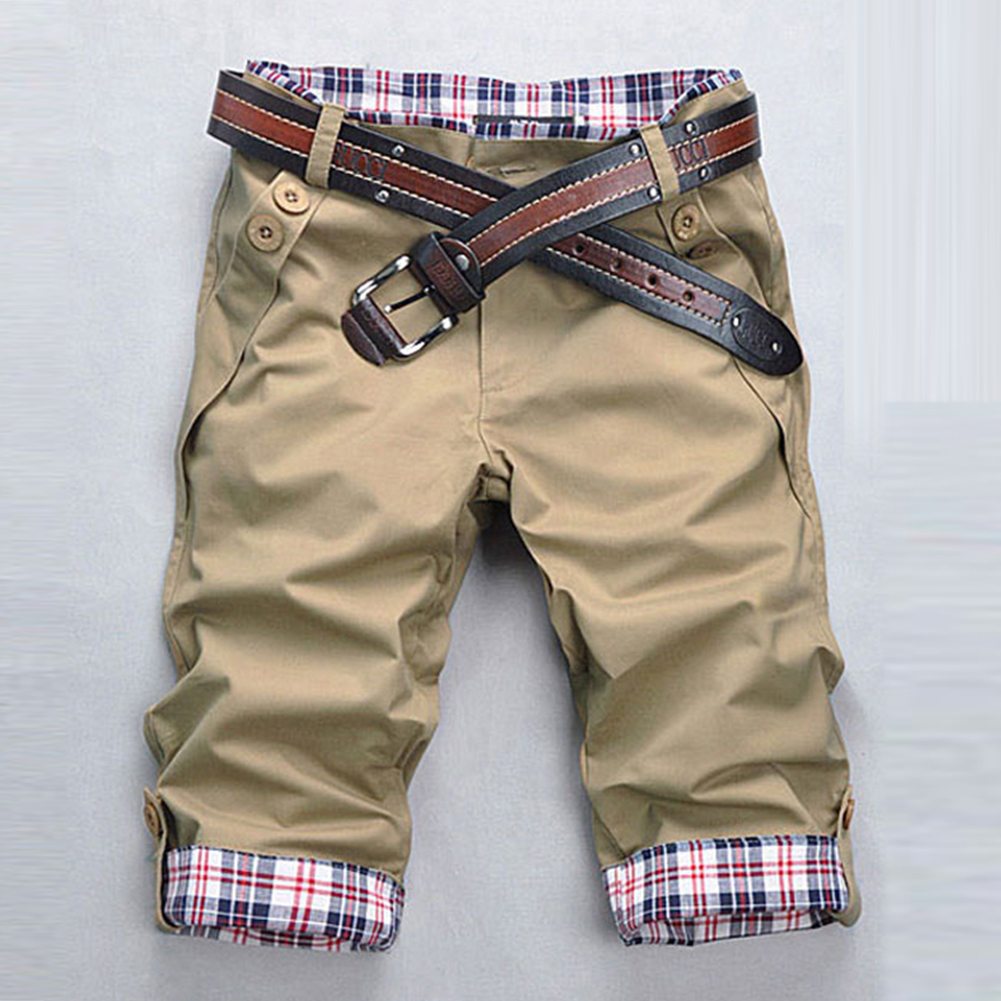 Men Fashion Casual Slim Cropped Trousers with Zipper Khaki_XXXL