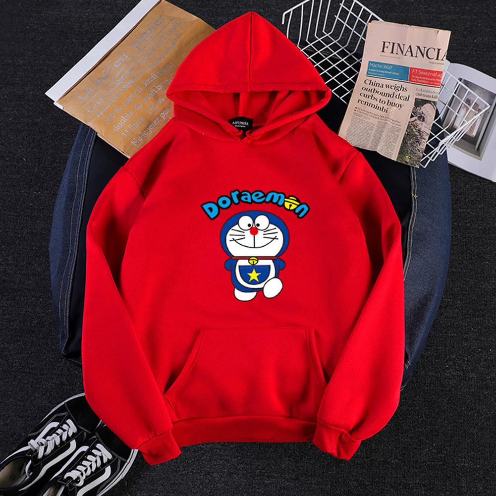 Men Women Hoodie Sweatshirt Doraemon Cartoon Loose Thicken Autumn Winter Pullover Tops Red_M
