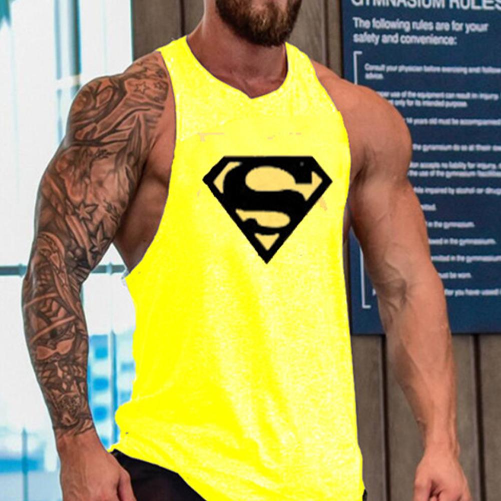 Men Gym Muscle Tank Tops Bodybuilding Shirt Sport Fitness Tops Yellow Black_XL