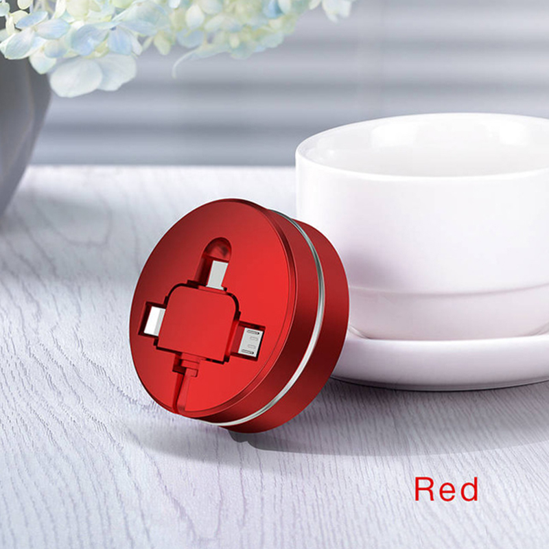 3 in 1 Micro USB Type C USB Cable for iPhone Retractable 1m USB Cable for Xiaomi Huawei red