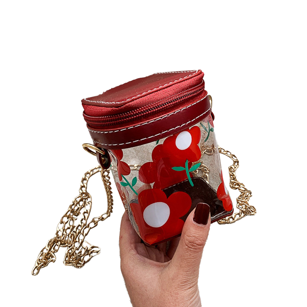 Women's Korean Version Of The Wild Transparent Jelly Chain Shoulder Fashion Cute Mini Bag red