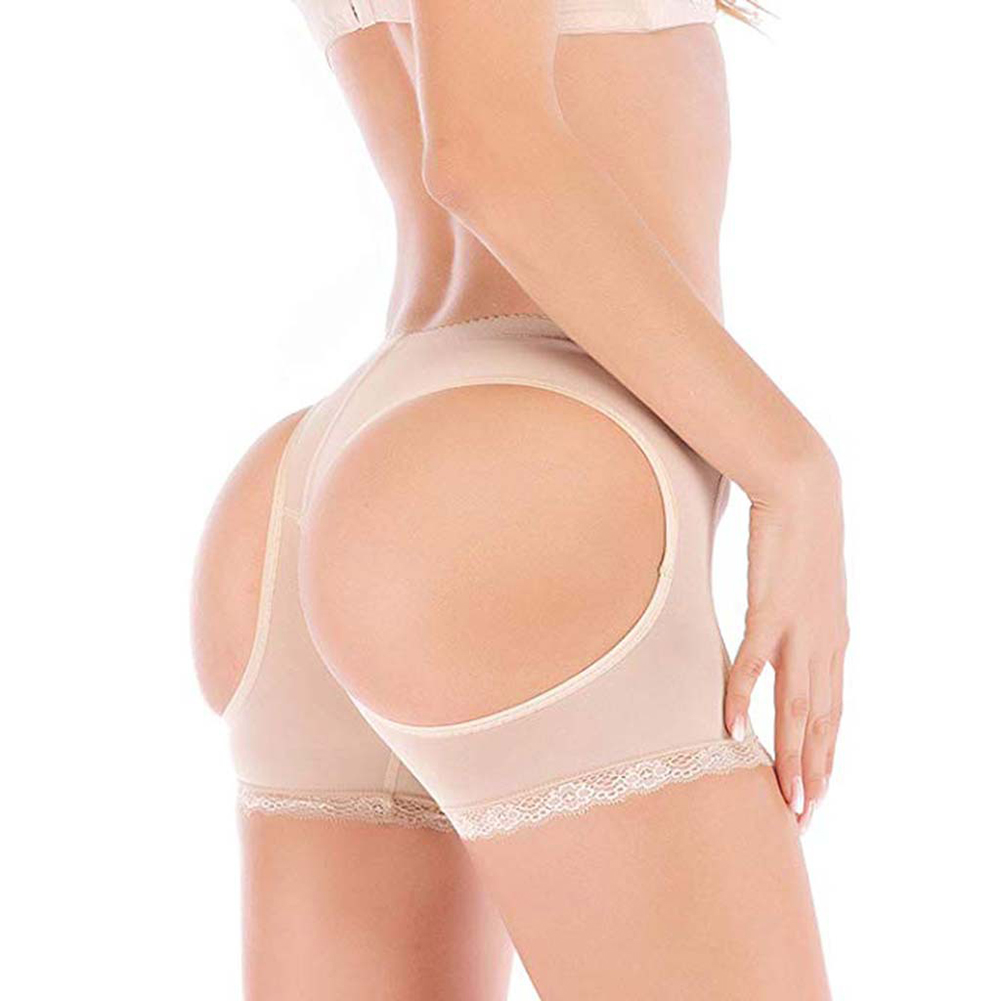 Women Sexy Underwear Boxer Briefs Low Waist Slim Mesh Underpants skin color_M