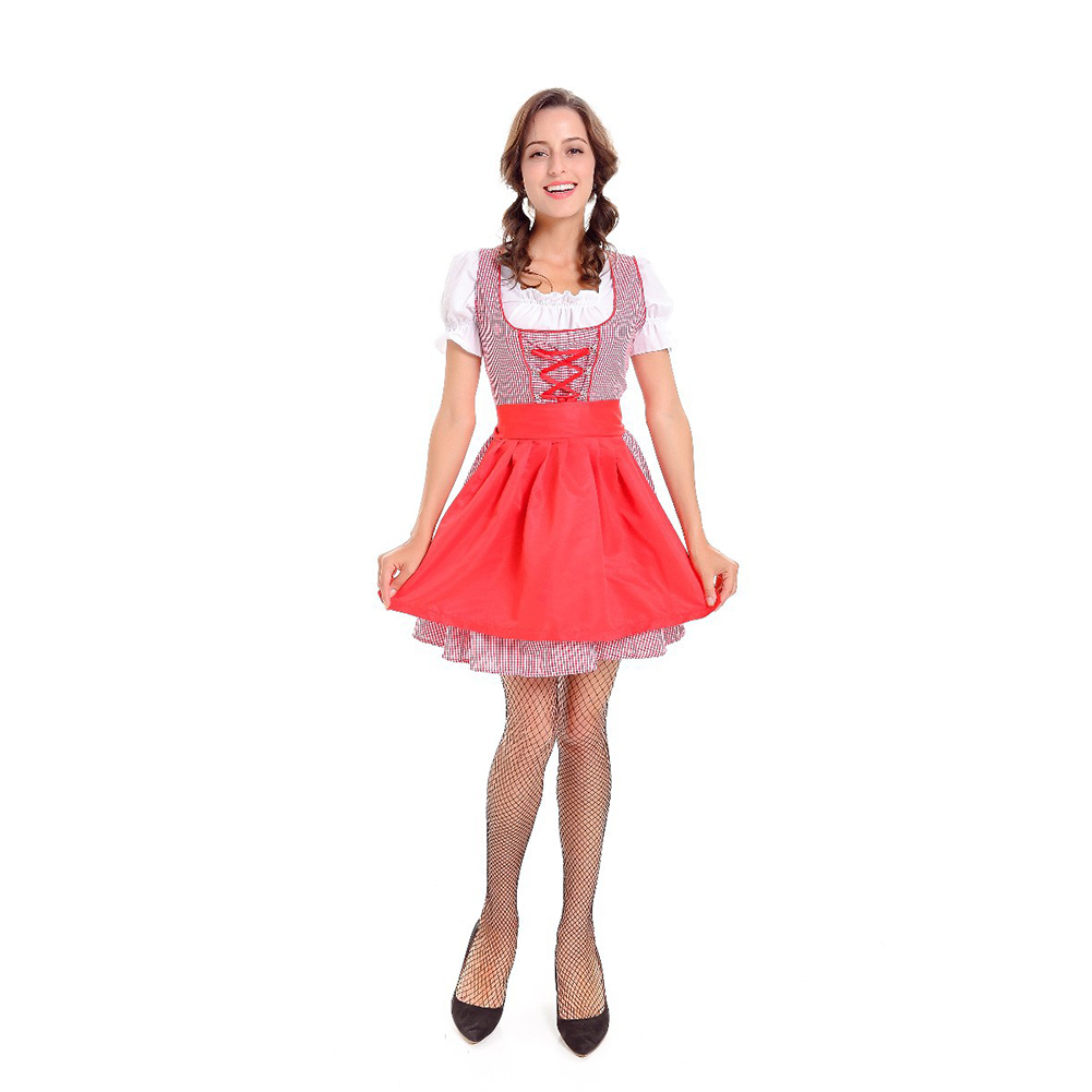 Women Maid Costume Short Skirt for Club Beer Festival Halloween Dresses Section 2 (white top; plaid skirt; apron)_M