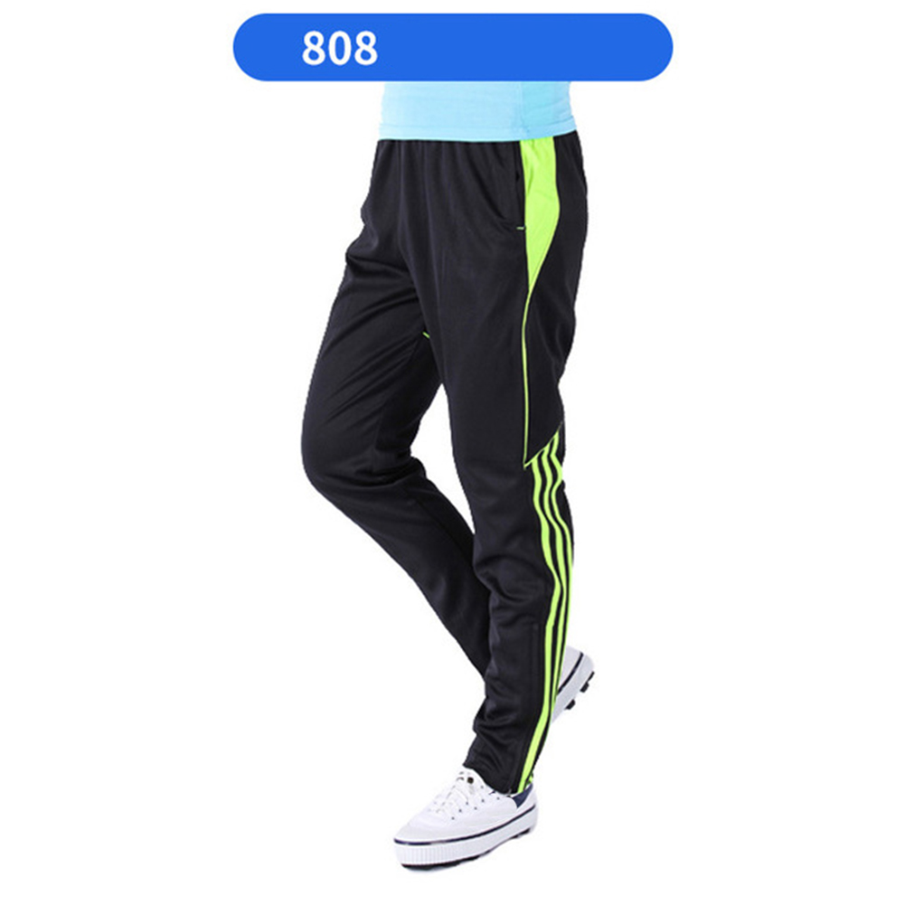 Men Summer Training Pants Breathable Running Football Long Fashion Sports Pants 808-fluorescent green_XXXL