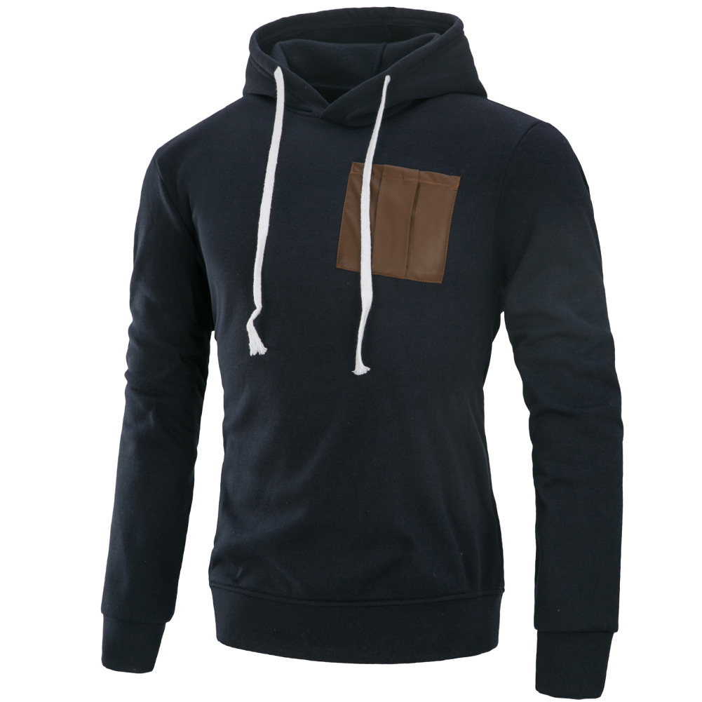 Men Fashion Long Sleeve Hooded Casual Pullover Sweatshirt Tops Navy Blue_L