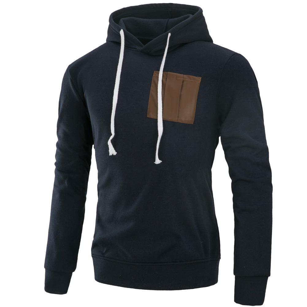 Men Fashion Long Sleeve Hooded Casual Pullover Sweatshirt Tops Navy Blue_XL