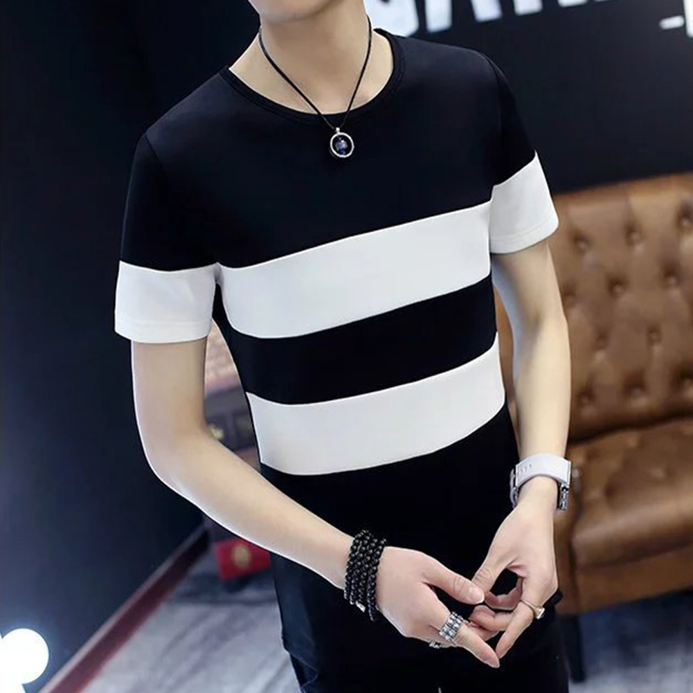 Men Short Sleeve T-shirt Round Collar Stripes Pattern Casual Tops black_XXL (72.5 kg)