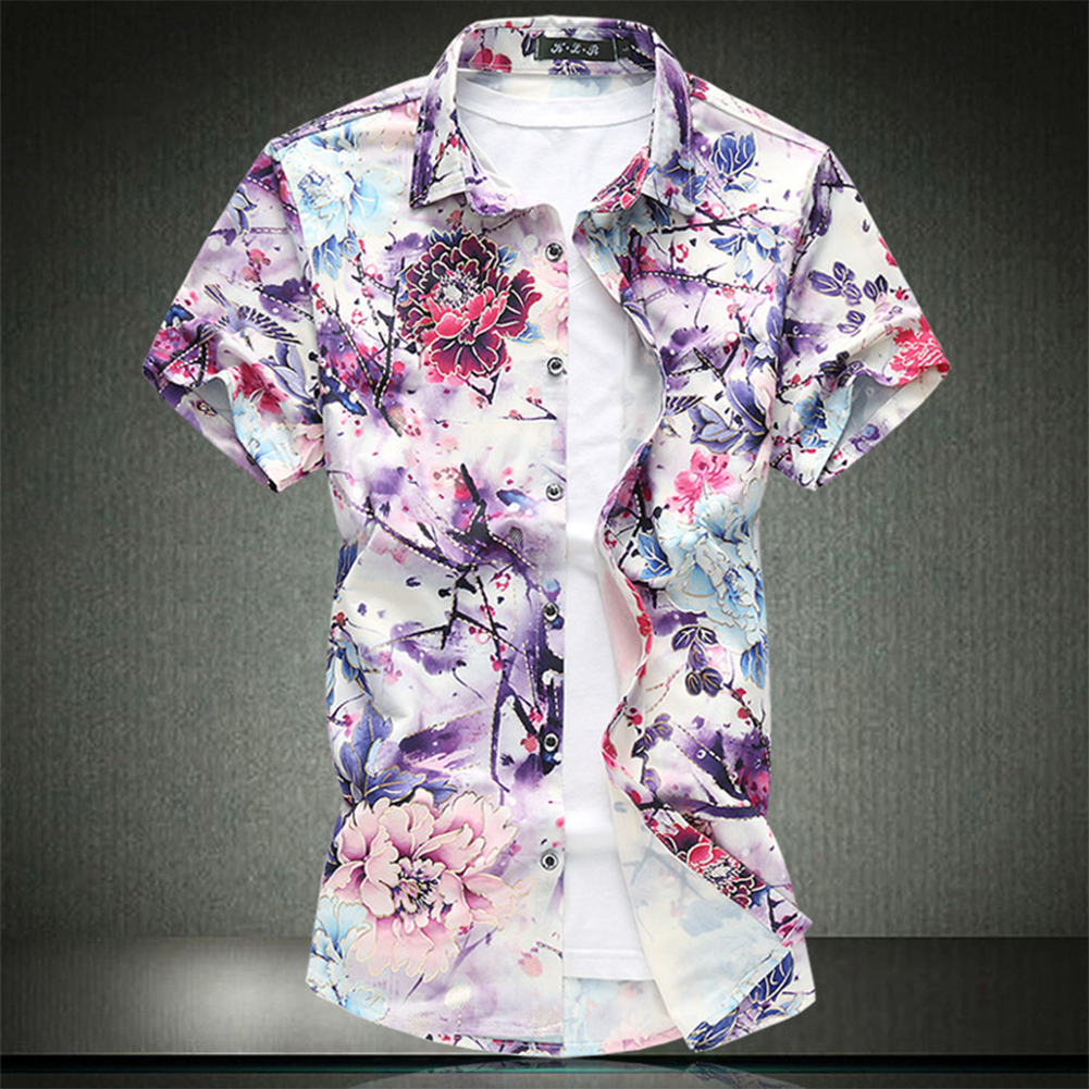 Men Summer Leisure Floral Elastic Cotton Short-sleeved Shirt red_XL