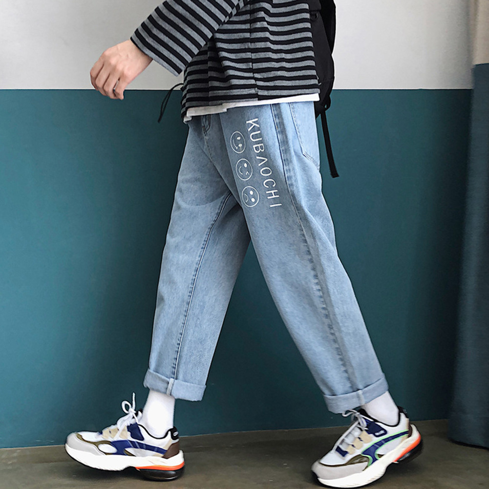 Men Fashion Jeans Denim Pencil Pants Facial Expression Loose Casual Straight Trousers  Light blue_L